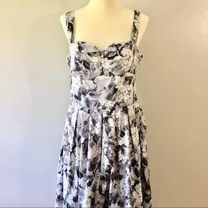 Talbots Black & White Midi Sweetheart Dress